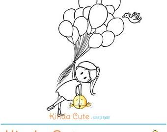 Girl and balloons (black/white only). Birthday digital stamp. Funny digital stamp.