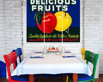 Delicious Fruits Kentucky Apples Triptych Metal Wall Art