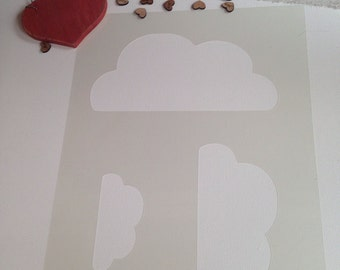 Cloud stencil craft silhouette stencil Girls bedroom nursery airbrush painting fabric paint decorating DIY UK  Playroom 'offer'