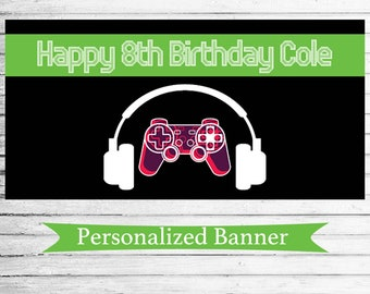 Personalized Video Game Party Banner | Gamer Party | Indoor Outdoor Banner | Custom Banner | Video Game Theme Party Decor