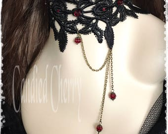 "Dark Red Crystal / Black Victorian Lace Choker Necklace-Vampire Gothic Steampunk Maleficent Victorian Neck Corset Collar-""DUPEREY vampire"""