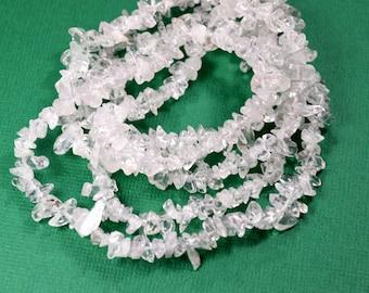 36 inch Strand Natural Clear Crystal Quartz Gemstone Chip Beads