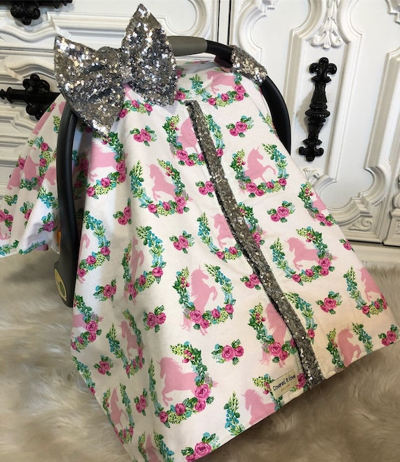 Car seat canopy , floral , silver , Just a touch of sparkle , simple , chic and elegant , unicorn , unicorn car seat canopy