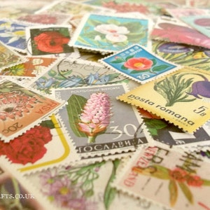 Flowers, postage stamps   floral world modern + vintage random mixed used stamps   card craft topper, collage, upcycle, decoupage, collect