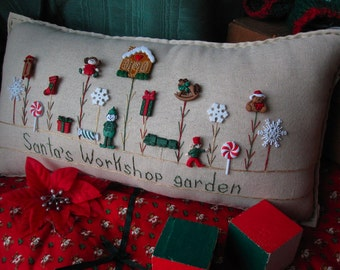 Santa's Workshop Garden Pillow