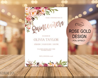 Blush Floral Rose Gold Quinceanera Invitation Template- Rustic DIY Printable 15 Birthday Party Invitation - PDF-Instant Download| VRD315SDR
