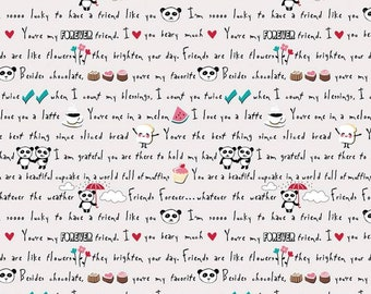 """Riley Blake Fabrics """"Panda Love Lt. Gray""""-Word Fabric- One Yard Cut - by Kelly Panacci, Panda fabric, light gray with words and pictures"""