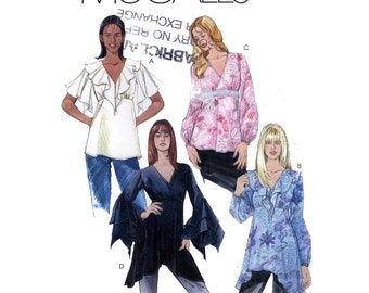 Boho prairie tops and tunics sewing pattern McCalls 4592 Size 10 to 16 Uncut