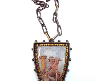 Religious Necklace, Mixed Media Necklace, Angel Altar Necklace, Putti Necklace, Bold Statement Jewelry, Amber Rhinestone Pendant