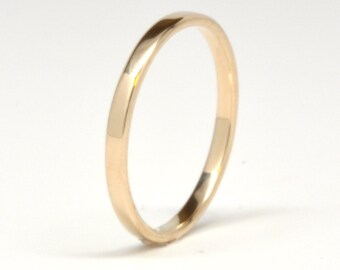 14K Yellow Gold Wedding Band or Wedding Ring, 2mm, High Polish Finish, Eco Friendly, Sea Babe Jewelry