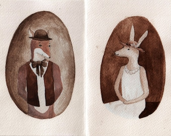 Sepia old time portrait  Fox Bunny print gouache illustration lovers chocolate coffee umber