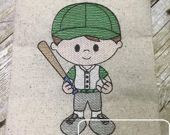 Baseball Boy 2 Sketch Embroidery Design - baseball sketch embroidery design