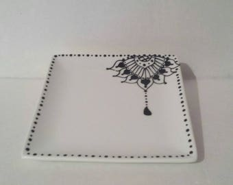 Oriental Lace, handpainted small square plate