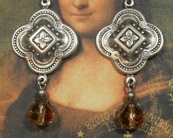 Renaissance Jewelry - Quatrefoil Earrings - Victorian Jewelry - Tudor Jewelry - Edwardian Earrings - Medieval Jewelry - Womens Jewelry