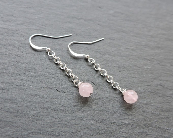 Long silver & Rose Quartz drop earrings - Rose quartz pink round drop bead chain earwire hooks