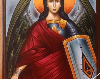 Michael archangel, orthodox byzantine icon, original hagiography, Άρχων Μιχαήλ, hand painted on request, angel, άγγελος, αρχάγγελος, εικόνα