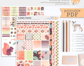 Planner Stickers. PDF Erin Condren Planner Stickers. PDF Planner Stickers. Autumn Planner, Fall Planner. Thanksgiving. Printable Stickers.