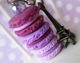 Macaroon Tower _ Shades of Purple _ with Eiffel Tower Bronze Necklace_ 1/12 Dollhouse Scale Miniature Food _ Polymer Clay _ Foodie Gift
