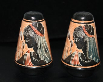 C3 These appear to be Hand Etched Hand Painted Terra Cotta Salt and Pepper Shakers Egyptian Greek Style