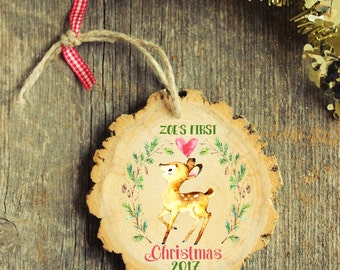 My First Christmas,  Baby's First Christmas Ornament -Modern Christmas Ornament - First Christmas, Baby's First -NEW 2017 Collection - Wood