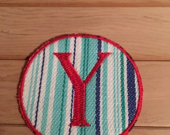 Stripe Iron-On Monogram, Embroidery Letter Y