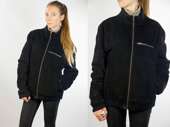 Suede Jacket Black / Warm Suede Jacket / Lined Suede Jacket / Suede Bomber Jacket / Suede Bomber / Bomber Jacket / Vintage Suede Jacket