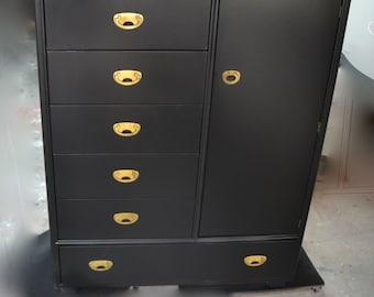 Campaign black chest .brass hardware