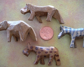 Lot of 6 Vintage Wooden African Safari Animals Miniature Kenya Set Elephant Giraffe Lion Zebra Leopard Rhinocerous