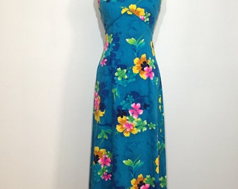 70s Turquoise Hawaiian Empire Waist Maxi