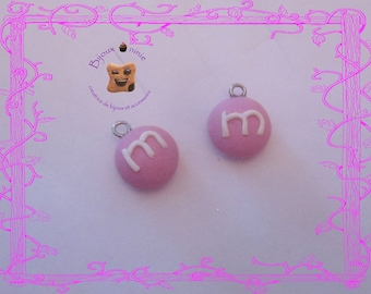 2 m candy charm and pink me polymer clay
