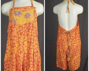bright colorful backless romper 80s 90s vintage shorts jumpsuit onesie playsuit Large