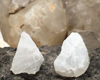 Large Moonstone Crystal Stud Earrings - Sterling Silver Post - Rough, Raw Stone - Natural Mineral Beauty