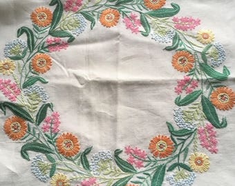 Hand embroidered vintage cushion cover