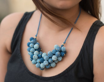 Samoolam Handmade Indigo Bouquet Crochet Necklace for Women and Girls