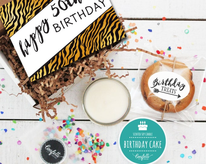 Mini Happy 50th Birthday Gift Box - Milestone Birthday | Send a Birthday Gift |  Friend Gift | Coworker Gift | 50th Birthday Card