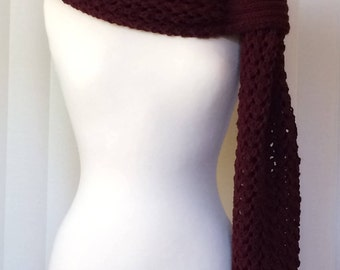 Hand Knitted Scarf/Shawl/Wrap/Stole, Knitted Scarf, Knitted Shawl, Knitted Wrap, Burgundy Scarf/Wrap/Stole