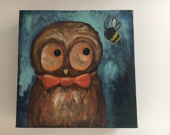 Whimsical Owl Painting on Canvas Original Artwork, Acrylic on Canvas, Whimsical Art, Owl Lover, Bee Lover, OOAK Painting, 6x6 Canvas