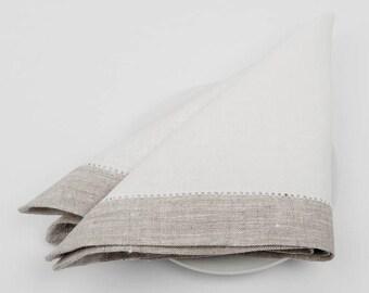 100 % LINEN NAPKINS SET Of 6  Off-white with grey borders Rustic linen napkins  Luxury napkins Wedding napkins  Medium-weigh linen napkins