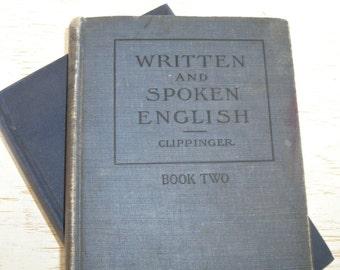 vintage english textbooks - freshman written and spoken english school books 1918 1923 - shabby cottage chic blue decorative books