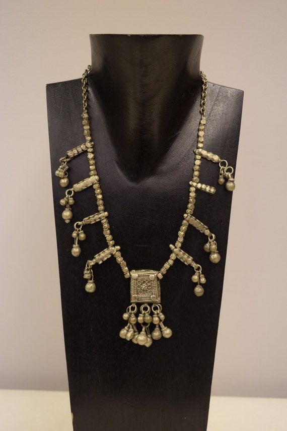 Necklace Vintage Middle East Silver Studded Silver Beads Charms Handmade Necklace Silver Beads Jewelry One of a Kind G