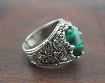 antique silver vintage Malachite ring jewelry Christmas gifts R169A