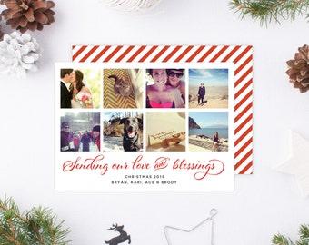 Instagram Photo Christmas Card | 8 photo Holiday card, 8 picture Christmas card, multi-photo Christmas card, custom 8-photo christmas card