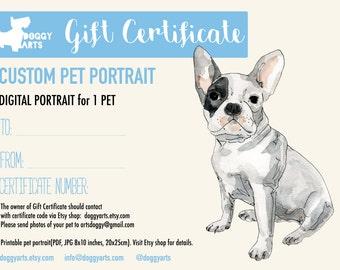 Gift Certificate. Last minute gift. Christmas Gift. Dog Portrait. Gift Idea. Custom Portrait. Custom pet portrait. Unique gift for pets.