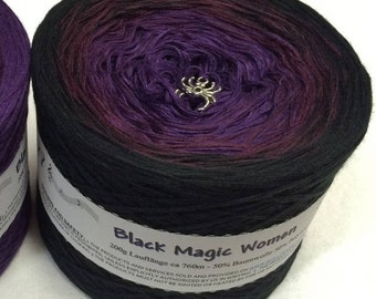 Black Magic Women - Ombre Yarn - Purple Cotton Yarn - Purple Acrylic Yarn - Black Cotton Yarn - Black Acrylic Yarn - Wolltraum Yarn - Yarn