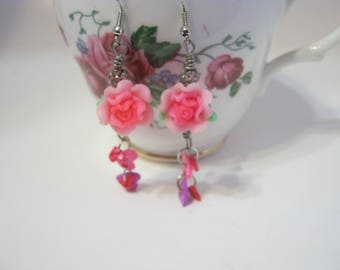 Pink Flowers and Hearts Dangle Fairy Earring-Shabby Chic/Gift