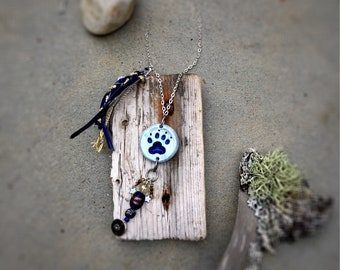 Wolf Animal Spirit Totem Necklace - native american tribal paw print full moon twilight midnight dream catcher - woodland animal jewelry