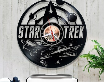 Vinyl Wall Clock Star Trek| Record Clock *V168  Birthday Gift| Retro Vinyl Clock| Original Clock| Kitchen Wall Clock| Wall Clock Vinyl