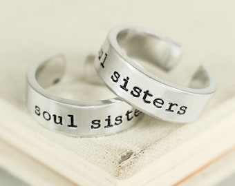 Soul Sisters rings - Best friend rings - Best Friend Gift - Friendship rings - BFF gift - Bff rings - stocking stuffer - gifts under 20