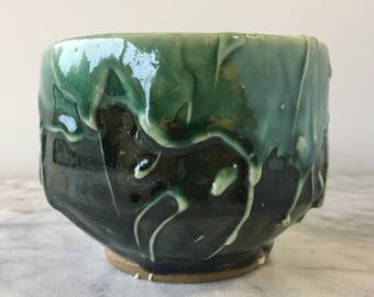Stoneware cup chawan tea bowl with porcelain drips, wabi sabi drinking vessel green glazed pottery
