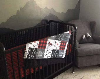 Baby Boy Crib Bedding - Little Man Moose, Gray Arrows, Red Black Buffalo Check, Black, and Gray Crib Bedding Ensemble